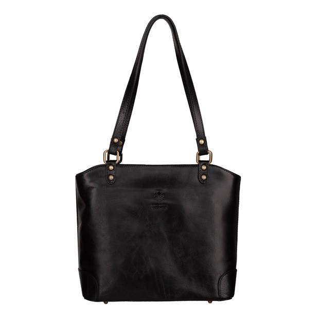 Włoska klasyczna torebka gładka skóra czarna (5611)