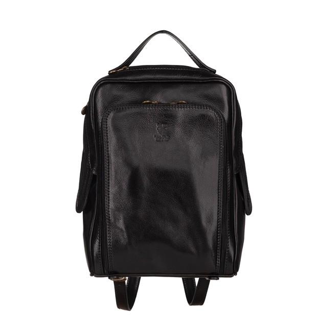 Vera Pelle - Włoski skórzany plecak czarny (5635)