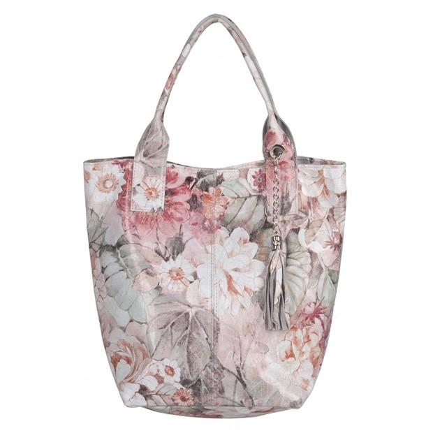 Włoska torebka worek A4 z frędzlami zamsz kwiaty (5636)