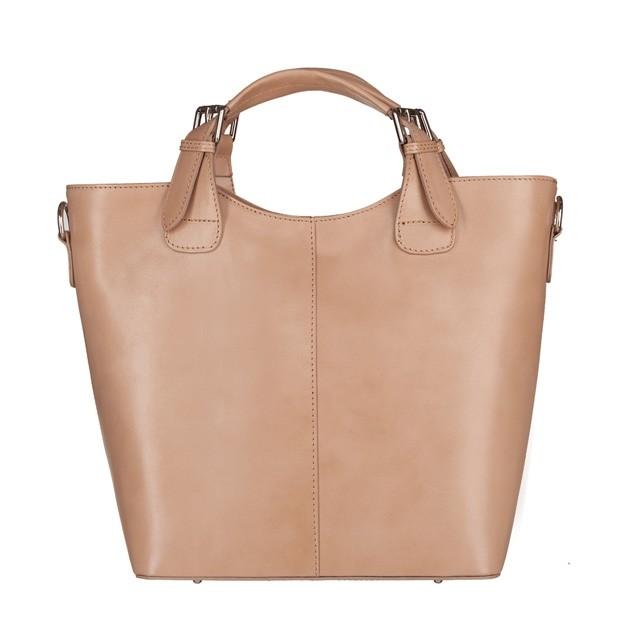 Włoska skórzana torebka typu shopper bag A4 beżowa (5638)