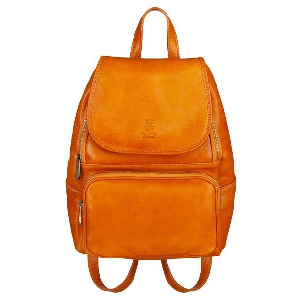 Włoski skórzany plecak żółty (5641)