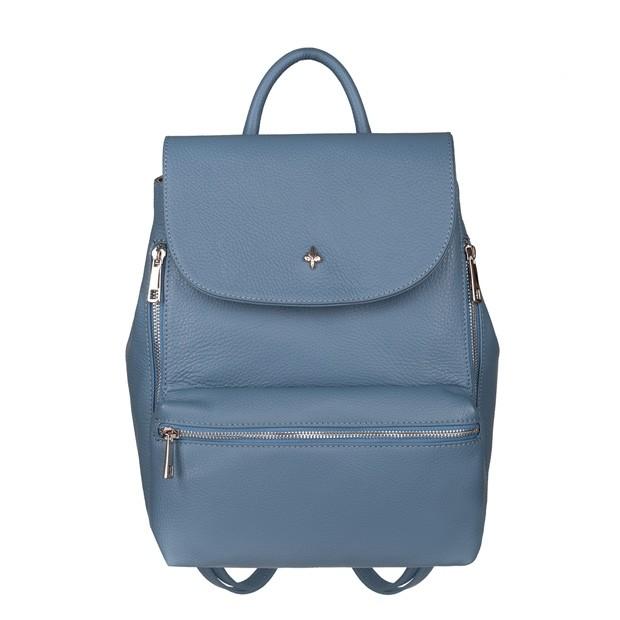 Włoski stylowy skórzany plecak srebrne zamki niebieski (5642)