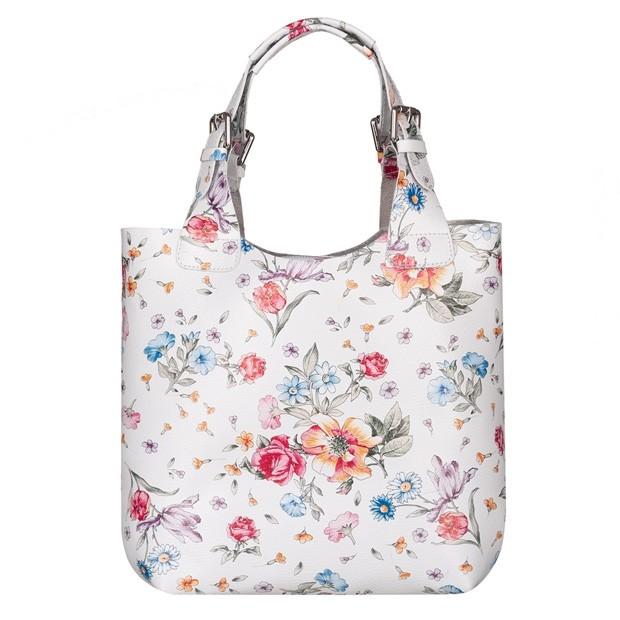 Włoska torebka skórzana w kwiaty (5647)