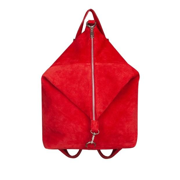 Włoski plecak zamsz naturalny czerwony (5652)