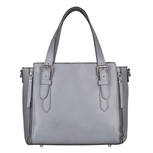 Vera Pelle - Włoska skórzana torebka kuferek szary (TS-5308-09)