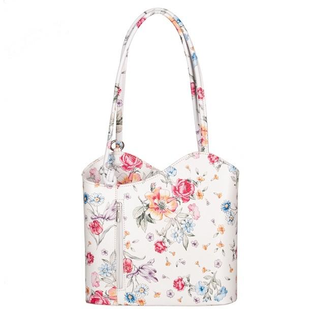 Florence - Skórzana włoska torebka plecak 2w1 kwiaty (5669)