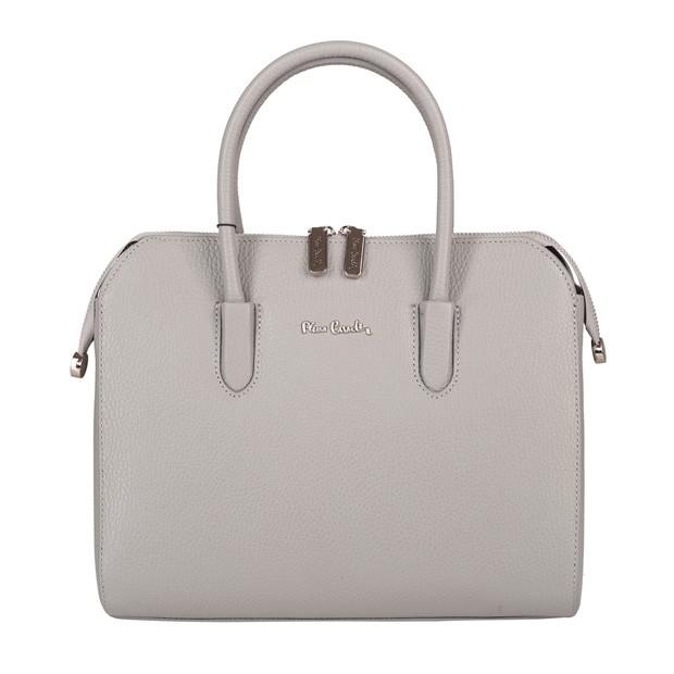 Pierre Cardin - skórzana torebka kuferek szara (TS-5375-09)