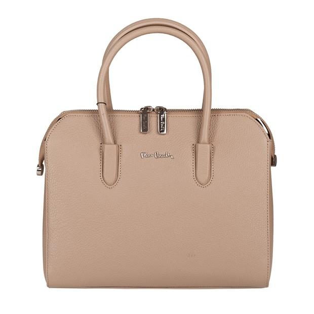 Pierre Cardin - skórzana torebka kuferek beżowa (5692)
