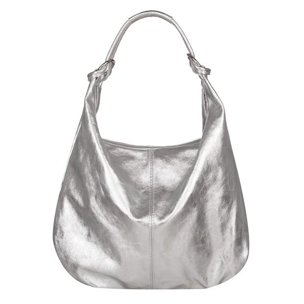 Włoska skórzana torebka worek srebrna (5694)