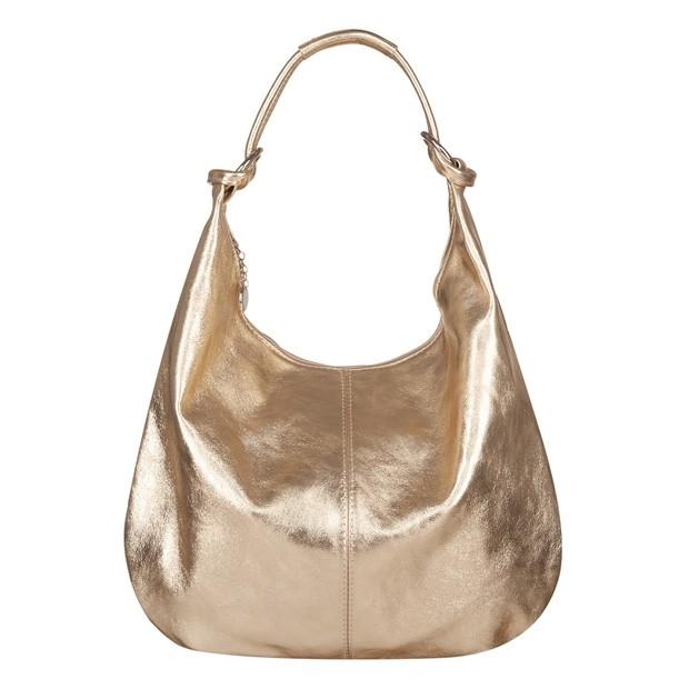Włoska skórzana torebka worek złota (TS-4054-16)