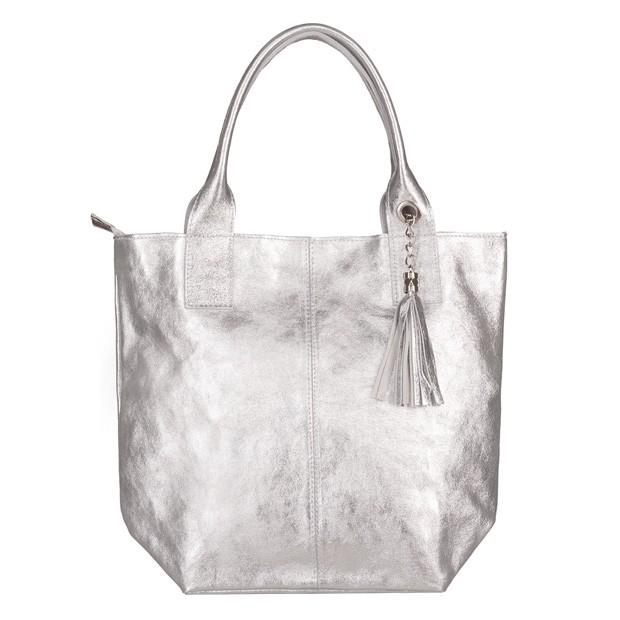 Włoska torebka worek A4 z frędzlami zamsz srebrna (5696)