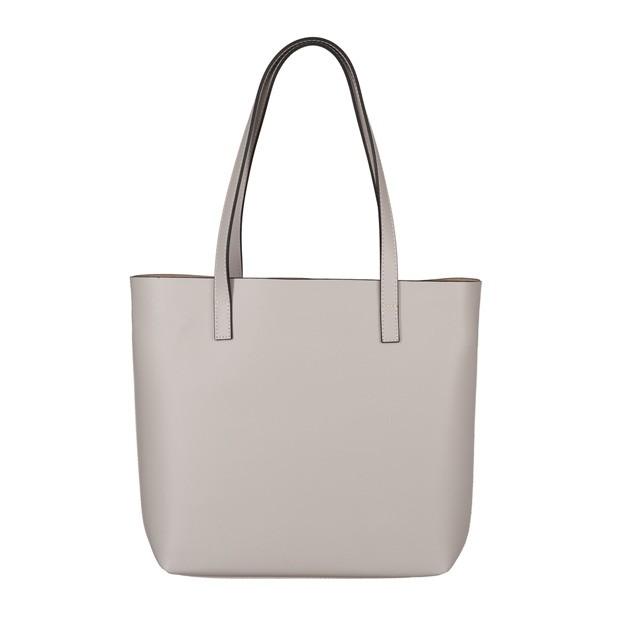 Włoska skórzana torebka shopper bag szara (5697)