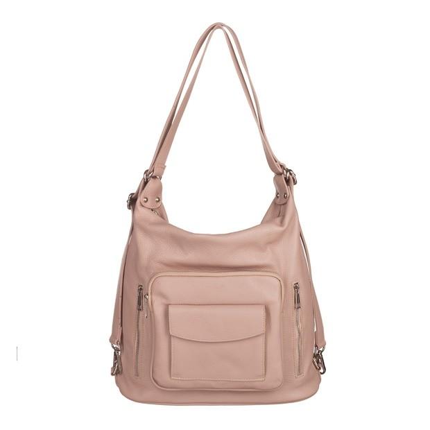 Włoska skórzana torebka - plecak 2w1 różowa (5713)