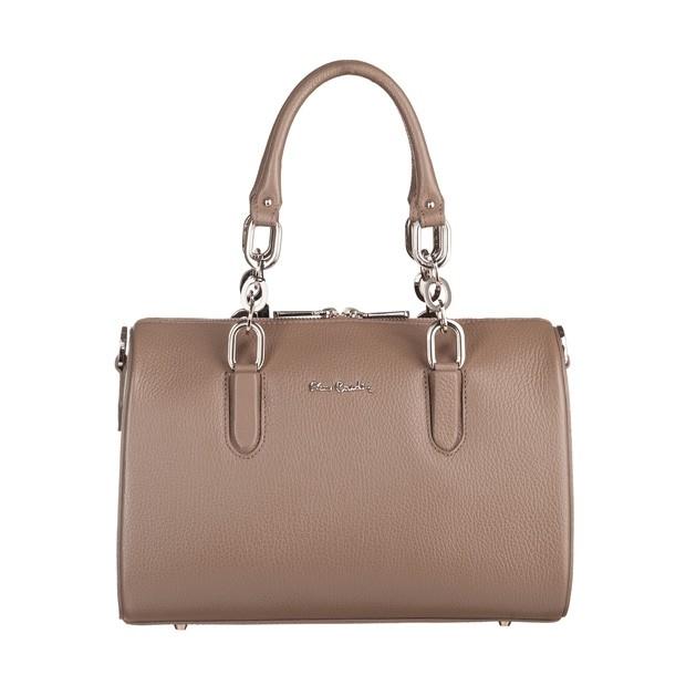 Pierre Cardin - skórzana torebka kuferek ciemny beż (TS-5442-08)