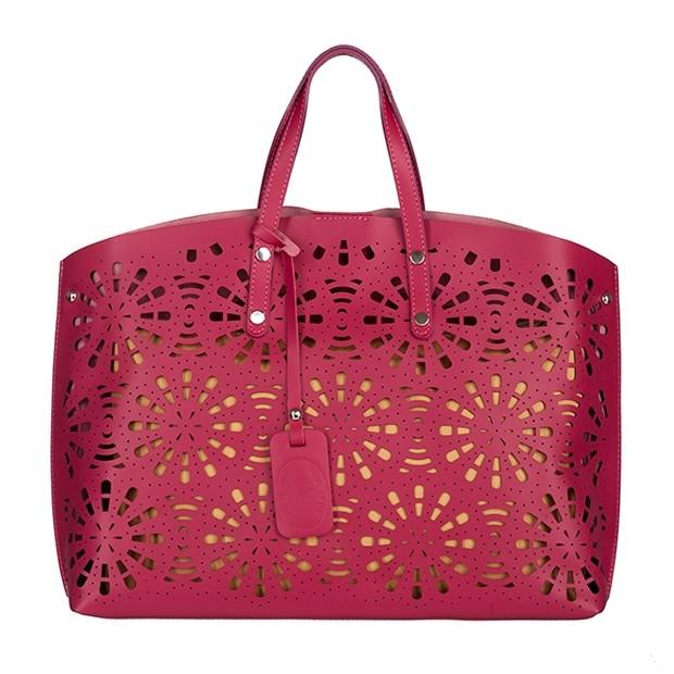 Włoska torebka z ażurowym przodem matowa skóra różowa (TS-4044-10)