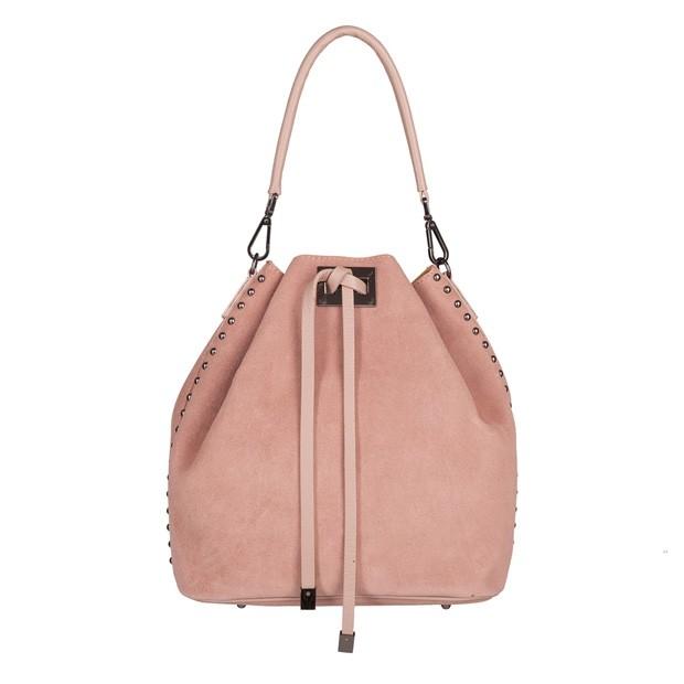 Włoska torebka worek zamsz dżety pudrowy róż (TS-4323-10)