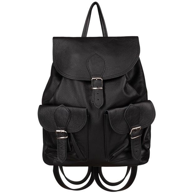 Skórzany plecak z kieszeniami skóra czarny (TS-5731-01)