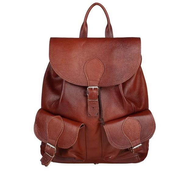 Skórzany plecak z kieszeniami skóra cieniowany brąz (TS-5731-02)