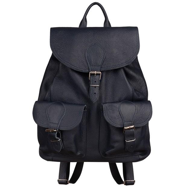 Skórzany plecak z kieszeniami skóra granatowy (5737)