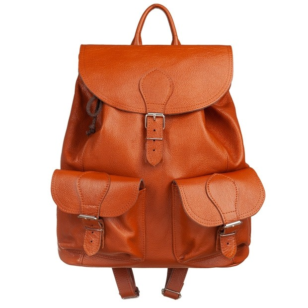 Skórzany plecak z kieszeniami skóra camel (5739)