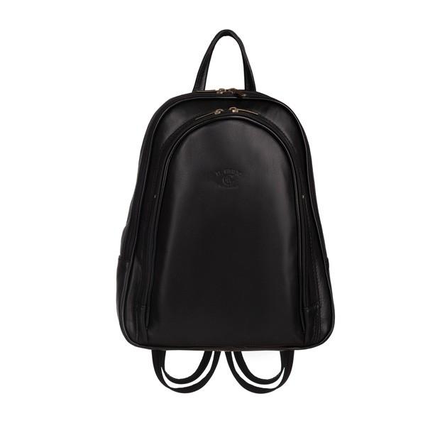 Włoski plecak skórzany czarny (5745)