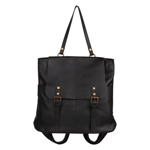 Włoski plecak skórzany czarny (5748)