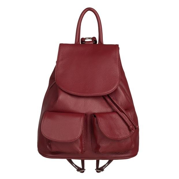 Włoski plecak z kieszeniami skóra dolaro bordowy (TS-5752-07)