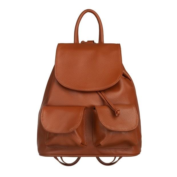 Włoski plecak z kieszeniami skóra dolaro camel (5750)