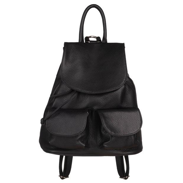 Włoski plecak z kieszeniami skóra dolaro czarny (5752)
