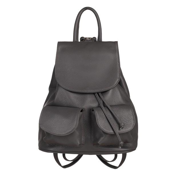 Włoski plecak z kieszeniami skóra dolaro grafitowy (TS-5752-03)
