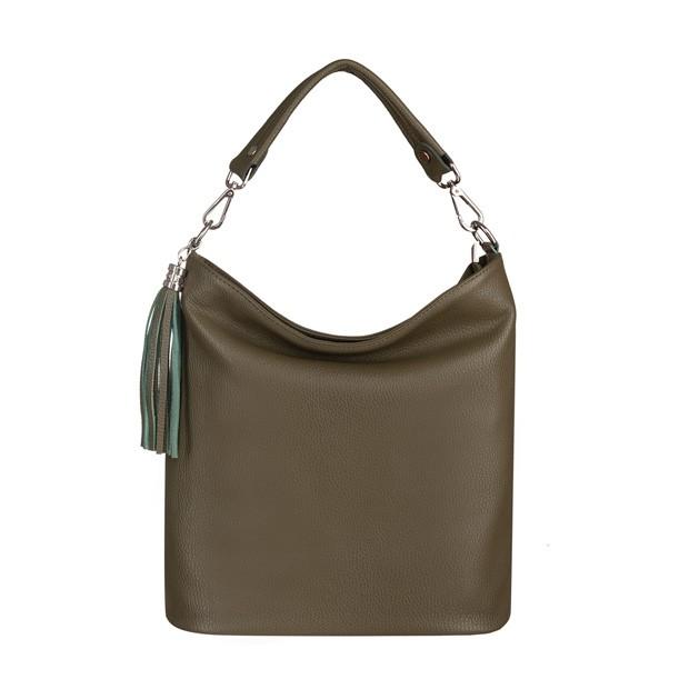 Włoska skórzana torebka worek z frędzlami zielona/oliwkowa (5755)
