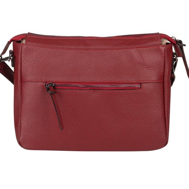 Włoska duża torebka listonoszka skóra dolaro czerwona (TS-5769-06)