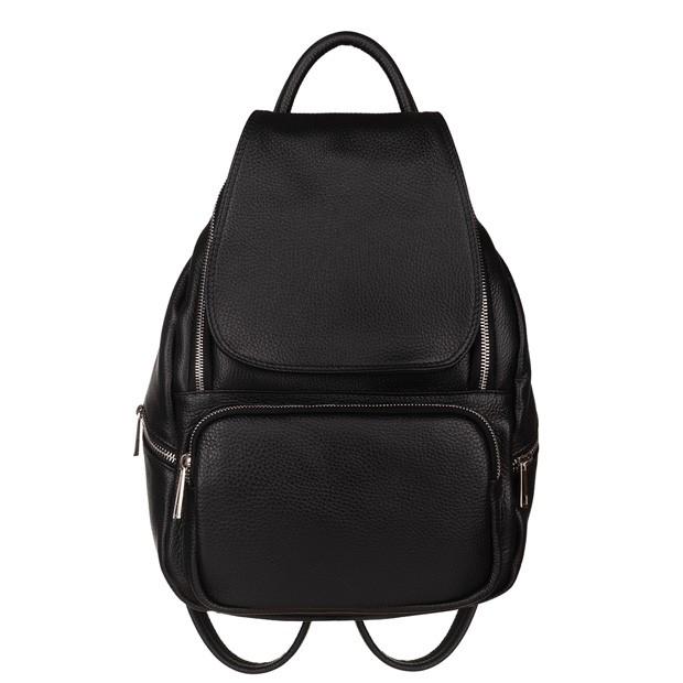 Włoski skórzany plecak z kieszeniami czarny (5773)