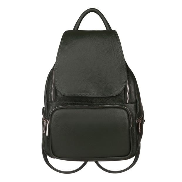 Włoski skórzany plecak z kieszeniami zielony (5774)