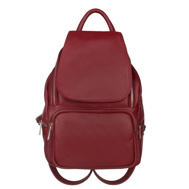 Włoski skórzany plecak z kieszeniami czerwony (5775)