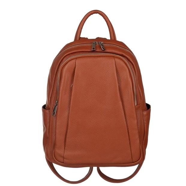 Włoski plecak z kieszeniami skóra dolaro camel (5776)