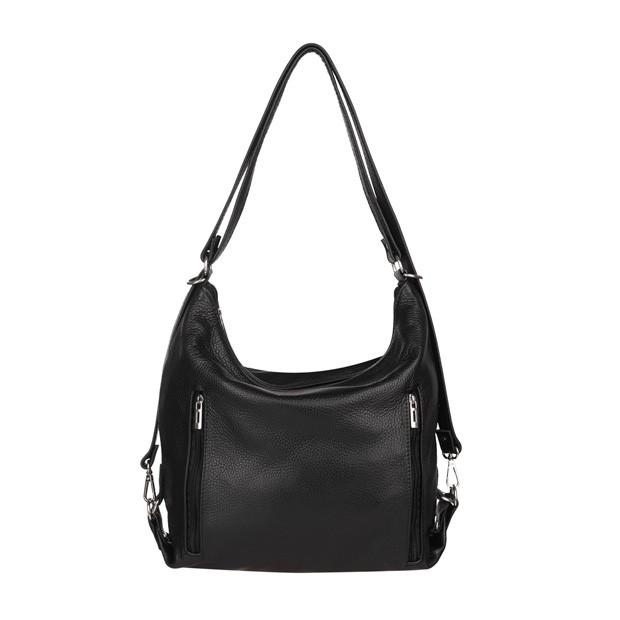 Torebka skórzana worek/plecak z zamkami czarna (TS-5783-01)