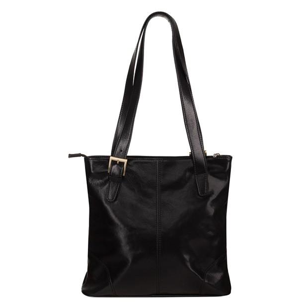 Włoska klasyczna torebka skórzana czarna (TS-5799-01)