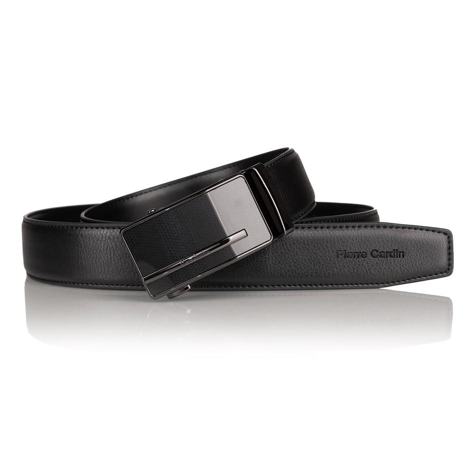 Pierre Cardin - elegancki pasek skórzany czarny (cintura 519 hy07)