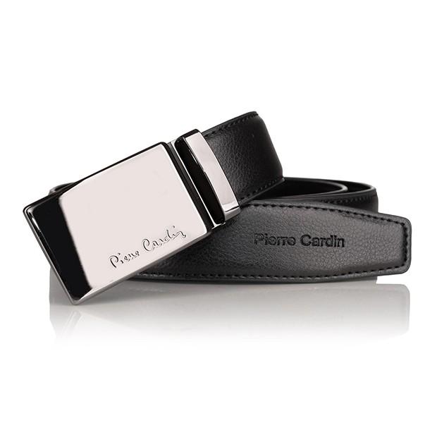 Pierre Cardin - elegancki pasek skórzany czarny (cintura 609 hy03)