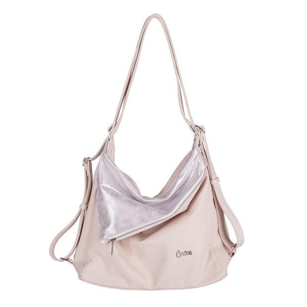 Carine - Torebka eko skóra 2w1 worek-plecak pudrowy różowy (E0001)