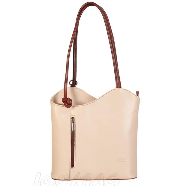 Florence - Skórzana włoska torebka plecak 2w1 beż + brąz (TS-0720-76)