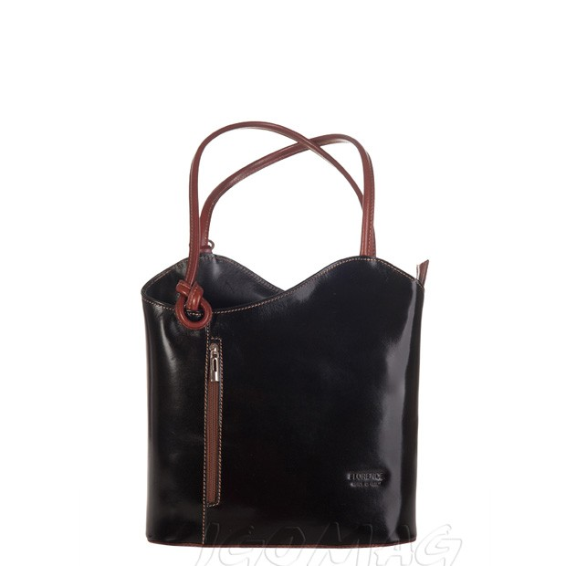 Florence - Skórzana włoska torebka plecak 2w1 czarna + ciemny brąz (1177)