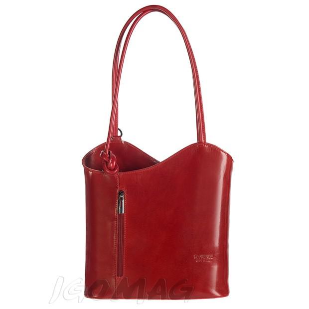 Florence - Skórzana włoska torebka plecak 2w1 bordowa (0721)