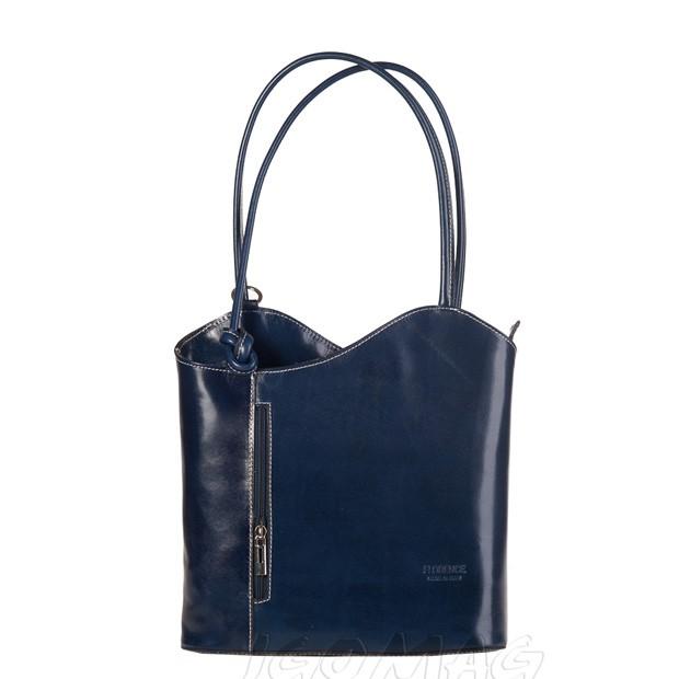 Florence - Skórzana włoska torebka plecak 2w1 granatowa (1258)
