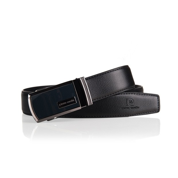 Pierre Cardin - elegancki pasek skórzany czarny (M003)