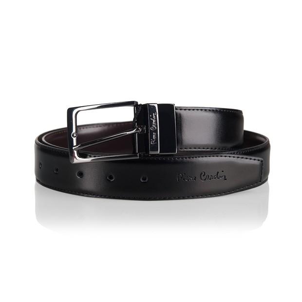 Pierre Cardin - elegancki dwustronny pasek skórzany czarny+ciemny brąz (M004)