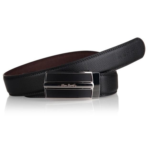 Pierre Cardin - elegancki pasek skórzany czarny (M006)
