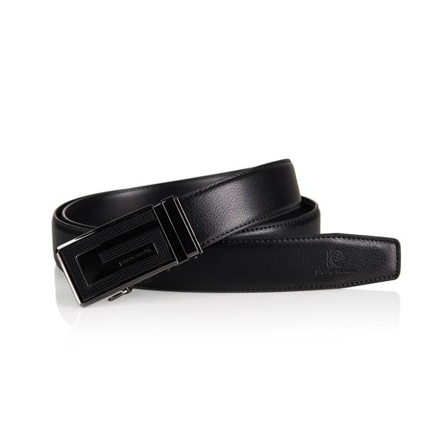 Pierre Cardin - elegancki pasek skórzany czarny (M008)