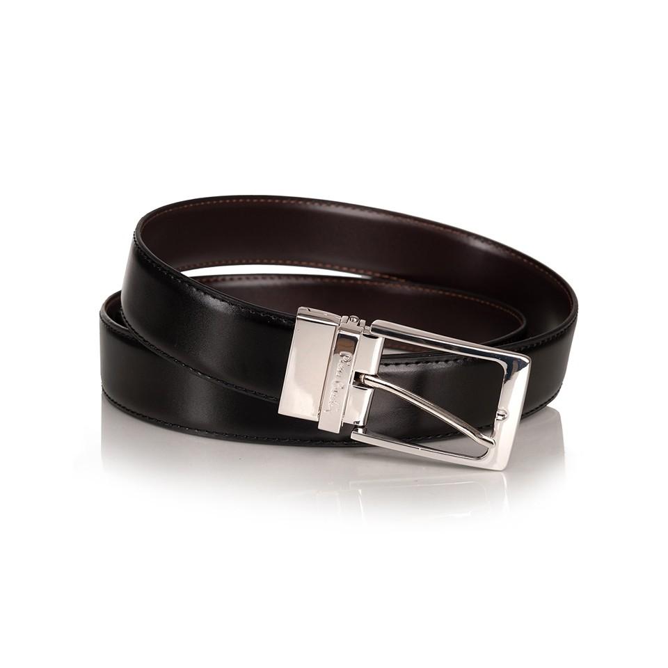 Pierre Cardin - elegancki dwustronny pasek skórzany czarny+ciemny brąz (M010)
